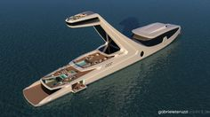 Super yacht designed by Gabriele Teruzzi.A DESIGNER has created a series of stunning concept images to showcase a luxurious super yacht which comes complete with an enormous viewing deck, glass bottomed pool and an aquarium. Yacht Design, Boat Design, Super Yachts, Dubai Travel, Dubai Trip, Digital Trends, Luxury Yachts, Luxury Boats, Boats