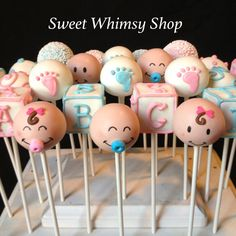 12 Baby Face Cake Pops for baby shower gender by SweetWhimsyShop