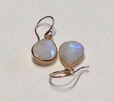 Rainbow Moonstone Earrings/ 21mm Genuine Moonstone Gemstone Earrings / Minimalist Rainbow Moonstone 14KT Bridal Earrings