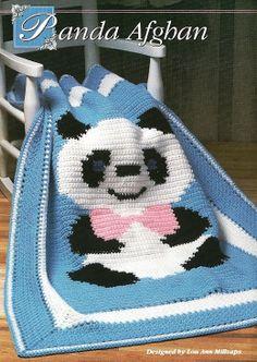 Artes by Cachopa - Croche & Trico: Croche - Manta infantil - Free Panda Afghan Pattern Crochet Afgans, Baby Afghan Crochet, Manta Crochet, Baby Afghans, Tapestry Crochet, Afghan Crochet Patterns, Knit Crochet, Knitting Patterns, Baby Blankets