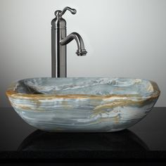 Eris Blue Onyx Vessel Sink - Vessel Sinks - Bathroom Sinks - Bathroom