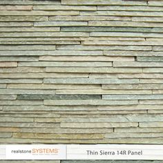 Thinstone is natural ledgestone cut in to ultra thin slices which are adhered together to form a panel. It is a rough cut, split face stone with a weathered finish. The thin cut of the stone makes it a texture rich contemporary looking panel, perfect for today's esthetic. The small size of the individual stone pieces lend the panels the dramatic look of mosaic tile, making it perfect for bathrooms, accent walls, backsplashes, water features and any applications requiring a striking design…