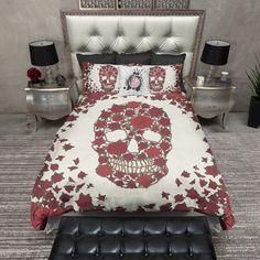 Red Dahlia Skull Duvet Bedding Sets