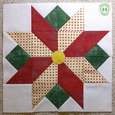 Block 7 is revealed! Block 7 is designed by Sandy Maxfield of Sandy Star Designs. Christmas Blocks, Christmas Sewing, Christmas Quilting, Christmas Christmas, Barn Quilt Patterns, Pattern Blocks, Quilting Projects, Sewing Projects, Painted Barn Quilts