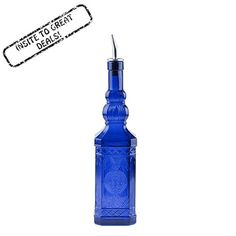 23.7oz Colbalt Blue Ornate Retro Multi-purpose Kitchen Olive Oil, Liquid Hand, Dish Soap Decorative Glass Bottle Dispenser Olive Leaf Design Glass Bottle and Perfect Pour Stainless Steel Spout and Cork * Check out this great product.