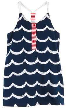 Le Top Girls Navy Blue / White Waves Sun Dress - Nautical Rope Straps