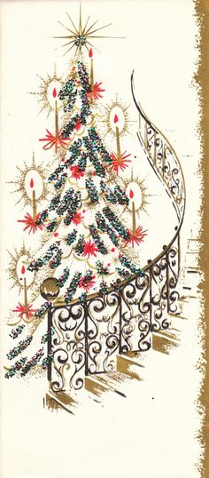 Christmas Tree by Stairs - vintage Christmas cards                                                                                                                                                     More