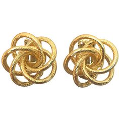 Pre-Owned Goldtone Infinity Spiral Earrings ($95) ❤ liked on Polyvore featuring jewelry, earrings, gold, infinity earrings, clip-on earrings, infinity jewelry, spiral earrings and goldtone jewelry