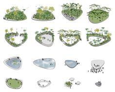 islands-01 Concept Models Architecture, Architecture Concept Drawings, Landscape Architecture Drawing, Architecture Graphics, Landscape Engineer, Landscape Model, Urban Landscape, Landscape Diagram, Landscape Design Plans