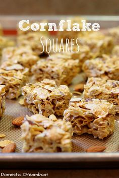 Cornflake Squares (Gluten Free) - Domestic Dreamboat Cornflake squares are one of my favorite treats of all time! They are as easy to make as any cereal bar, but they somehow taste so much better! Cereal Treats, Cereal Bars, Rice Krispie Treats, Kashi Cereal, Trix Cereal, Baby Cereal, Cornflake Recipes, Cornflake Cake, Marshmellow Treats