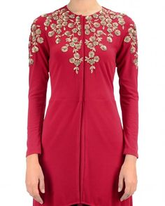 Red tunic low high hemline featuring golden sequins work in floral motifs at yoke and sleeves. Round neckline with hook and eye placket. Full sleeves. Wash Care: Dry clean onlyPant worn by the model is only for styling purpose