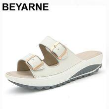 US $15.80 BEYARNE Comfortable women sandals new fashion genuine leather shoes women slip on shoes summer women's open toe beach sandals. Aliexpress product