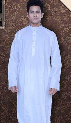 Fashionable Indian White Chanderi Silk Kurta