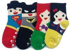 Superhero and Princess Microfiber Fuzzy Slipper Socks Set 2T-3T