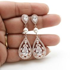 Rose Gold Bridal Earrings Wedding Jewelry Cubic