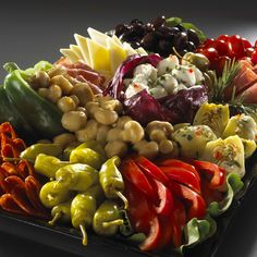 Antipasto platter. I like the mushrooms spilling out of the green pepper