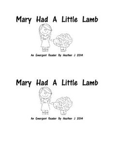 Nursery Rhyme Emergent Readers Mary Had A Little Lamb and Itsy Bitsy Spider