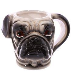 Coffee Mug Shaped Handle Ceramic Pet Mug Pug Head by getgiftideas