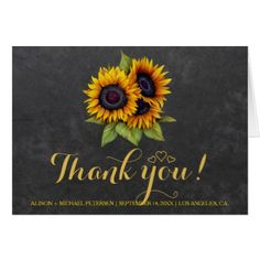Elegant rustic sunflowers fall thank you wedding card - wedding thank you gifts cards stamps postcards marriage thankyou