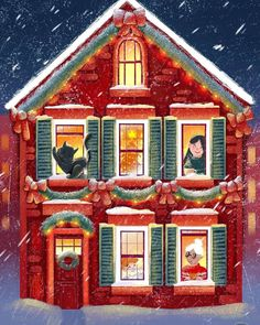 """Childrenbook Art on Instagram: """"rate this 1-100 ❤️😊 artist: @dailyfoxyart • • • • • • The second prompt is """"holiday town house"""", and i had lot of fun thanks to this…"""" Townhouse, Watercolor Art, Two By Two, Thankful, Prompt, House Styles, Holiday, Artist, Fun"""