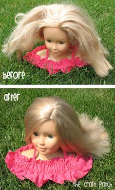 The Craft Patch: Pinterest Tested: Doll Hair Detangler - mix up 2 tablespoons fabric softener and fill the rest of spray bottle with water
