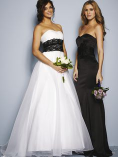 I like the contrast of Black and white wedding dress with black bridesmaid dress from Very.co.uk