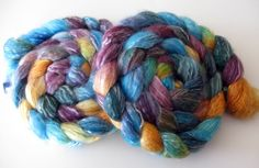 "Merino/Tencel Blend Wool Roving (Top) - Handpainted Spinning or Felting Fiber, ""Moll Flanders"" - 4 ounces  by SheepishCreations on Etsy, $18.00"