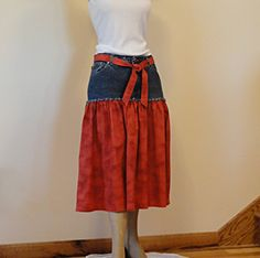 Red & Denim Jeans Skirt Upcycled Denim and Red by DenimDiva2day, $54.00 (this is kind of the idea I want to do with my plaid flannel collection.