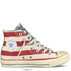 We love Converse Chuck Taylor Distressed Flag sneakers. Shop here http://www.converse.com/regular/chuck-taylor-distressed-flag/FMP1V829.html?dwvar_FMP1V829_size=030&dwvar_FMP1V829_color=white%2Fnavy%2Fred | and use Shweebo's package forwarding to get this straight to your door!