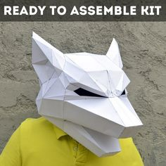 Ready To Assemble Kit For Wolf Mask. | FREE SHIPPING | wolf mask | forest animal | papercraft | Halloween mask | animal mask | Paper Animal by PlainPapyrus on Etsy