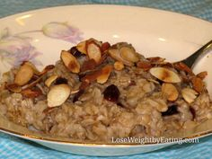Cherry Almond Oatmeal- 317 calories - Lose Weight By Eating Healthy Oatmeal Recipes, Healthy Foods, Healthy Breakfasts, Healthy Eating, Clean Eating, Diabetic Recipes, Yummy Food, Tasty, Food Videos