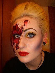 smokin_makeup: Halloween Tutorial. It's so much easier just to do gory makeup than to go out and find a costume.