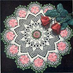 Wild Rose Crochet Doily Pattern Retyped Large Print Pattern PDF # ST135-3 #crochet #crocheting #ideas #etsy #team #treasury #handmade #etsyseller