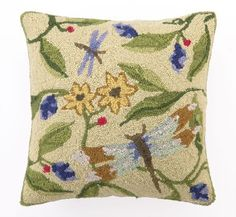Green Dragonfly Hooked Pillow, PHI