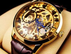 Mechanical Skeleton Men's Wrist Watch, Classical Style, Big Dial, Gold | ODONATUM - Accessories on ArtFire