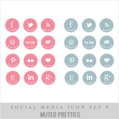 muted colors social media buttons