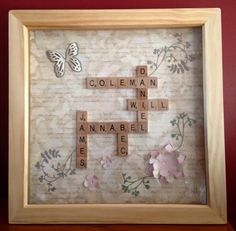 Personalised scrabble frame - family tree, birthdays, wedding anniversaries £25.00