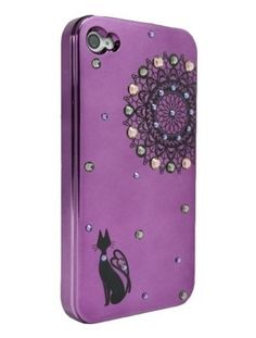Purple Black Lace and Black Cat for iPhone4/4S