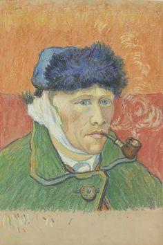 Emile Schuffenecker, Man with a Pipe (after Van Gogh's Self-Portrait), ca. 1892-1900 Dibujo de Emile Schuffenecker inspirado en uno de los autorretatos de Van Gogh (Van Gogh Museum, Amsterdam - Vincent van Gogh Stichting)