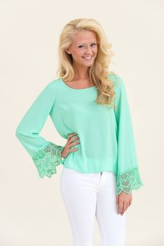 Well Crochet There Blouse-Mint
