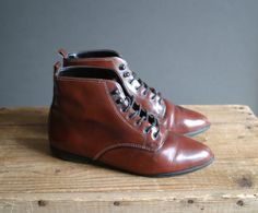 Brown Leather Lace Up Ankle Boots Size 36 by VioletsAtticVintage
