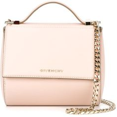 Givenchy micro 'Pandora' cross body ($1,710) ❤ liked on Polyvore featuring bags, handbags, shoulder bags, pink cross body purse, structured handbag, crossbody purse, givenchy and chain handle handbags