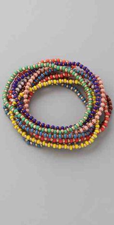 beaded bracelets   Cheap and Fluffy: DIY: Stretchy Beaded Bracelets