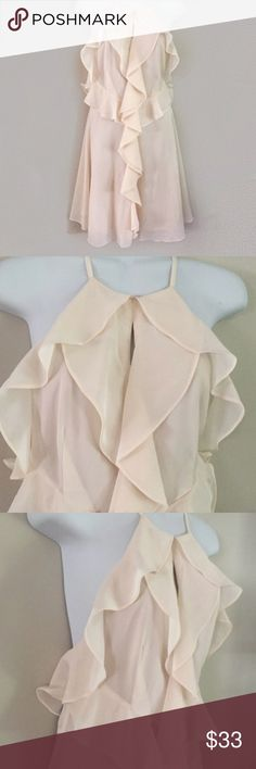 NWT! Asks Ivory sheer fully lined dress Brand new. Has ruffles down the front and a keyhole opening on the chest. Dresses
