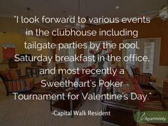 Resident events take advantage of the awesome amenity spaces and help create a network amongst residents at Capital Walk Apartments in Tallahassee! #ApartmentHunting #ResidentEvents
