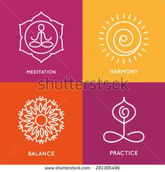 Yoga line symbols in colorful squares. Vector icons set. Graphic design elements in outline style. Logo templates for spa center or yoga studio