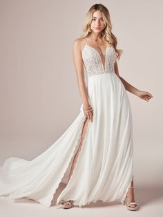 Rebecca Ingram - NICOLE, Planning a relaxed and rustic-chic celebration? Get inspired by this flirty sheath wedding dress featuring lovely lace, dreamy chiffon, and a hint of sexy.