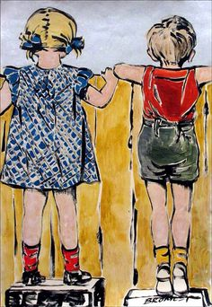 David Bromley, stunning children and fence painting on card, 120 x 80 cm - available