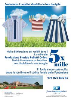 Comunicazione destinata alla campagna 5xmille per la Fondazione Placido Puliatti.