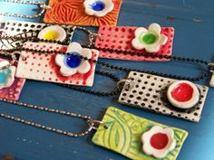 "Necklaces - 1""x.5""  Try this in polymer clay!   You don't need a kiln for polymer clay.  You can bake it in the oven."